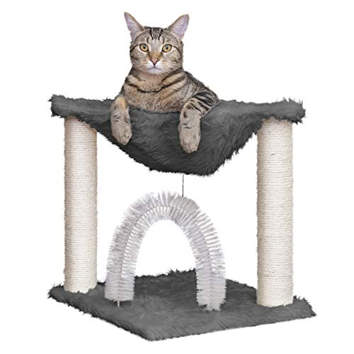 Furhaven Pet Cat Furniture | Tiger Tough Plush Cat Tree Hammock Self-Grooming Entertainment Playground, Silver, One Size
