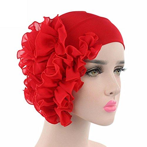 (Womail Women Turban Head Cover Wrap Crochet Beanie Warm Printing Bathing Hat (Red))
