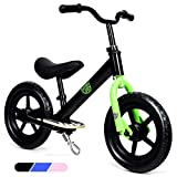 BABY JOY 12″ Kids Balance Bike for 18 Months to 6 Years Old Boys and Girls, No Pedal Sport Training Walking Bicycle with Non-Slip EVA Tire, Stable Kickstand, Push Bike for Toddlers