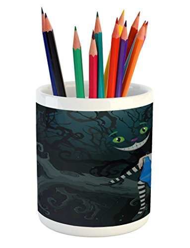 (Ambesonne Alice in Wonderland Pencil Pen Holder, Alice Sitting on Branch and Chescire Cat in Darkness Cartoon Style, Printed Ceramic Pencil Pen Holder for Desk Office Accessory, Multicolor)