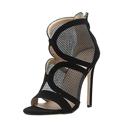 LIM&Shop Women's Ankle Strap Platform Pump Party Dress High Heel Open Toe Mesh Zip Back Sandal Wedge Shoes Ankle Boots