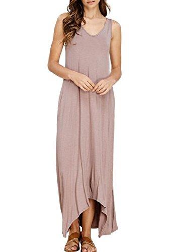 Coolred-femmes Sexy Vogue Longtemps Équipés Partie Robes Solides De Plage Irrégulière Pink