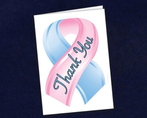 Small Pink & Blue Ribbon Thank You Cards (1 Pack)
