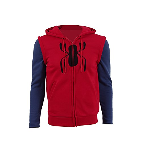 Halloween Cosplay Superhero Costume Peter Parker Homecoming Armor Jacket Hoodie for Men (Small, Red)