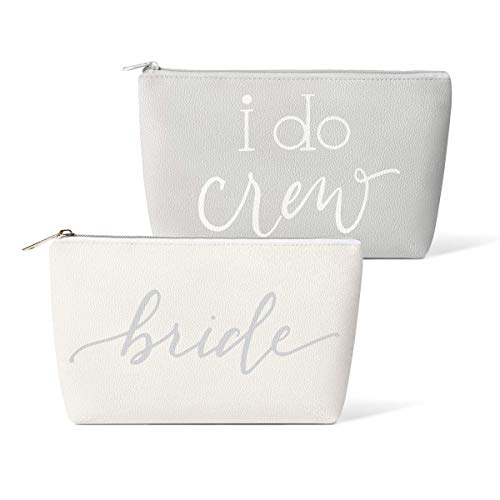 Bridal Party + Bride Makeup Bags – 11 pc Gift Set - Leather Cosmetic Bags for Bachelorette Parties, Weddings, Bridal Showers (I Do Crew, Grey)]()