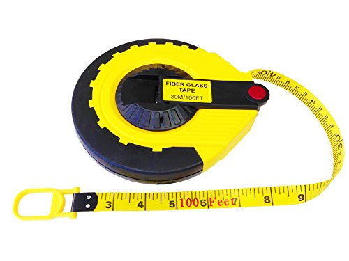 The Perfect Measuring Tape Company - Surveyor's Tape Measure - Rewinding and Compact - Dual Sided - 165' (feet) / 50m (meter)