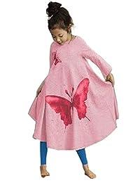 FTSUCQ Little Girl Butterfly Pattern Long Dress