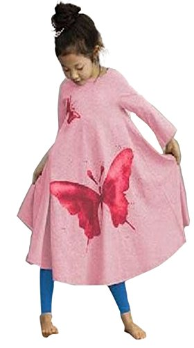 FTSUCQ Girls Lovely Butterflies Print Dress ,120(6-7Y),Pink