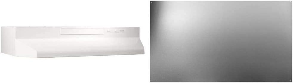 Broan-NuTone F403011 Insert, Exhaust Fan, Convertible Range Hood, 30-Inch, White on White & SP3004 Reversible Stainless Steel Backsplash Range Hood Wall Shield for Kitchen, 24 by 30-Inch