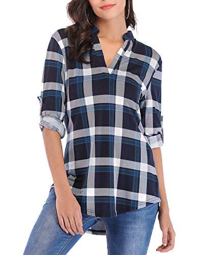 Womens 3/4 Roll Sleeve Shirts Henleys V Neck Plaid Blouse Loose Tunic Tops (Blue, XL)