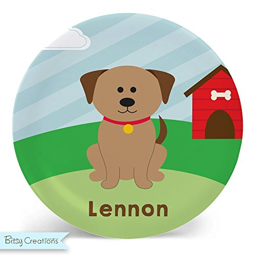 (Child's Plate - Child's Bowl - Dog Melamine Bowl or Plate Custom Personalized with Childs Name)