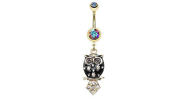 14 GA - Aurora Borealis//Black Sold Individually Golden Colored Blossom Owl Belly Button Ring 1.6mm