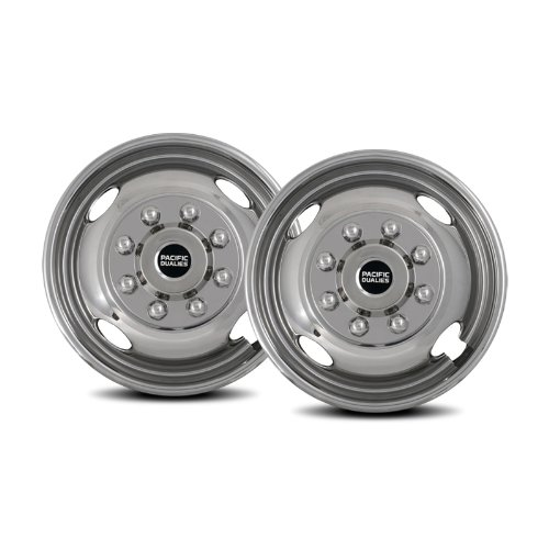 Pacific Dualies 31-2608A 16'' Polished Stainless Steel Wheel Simulator Front Tag Axle Kit for 2003-2004 Ford F350 Truck RV Motorhome by Pacific Dualies