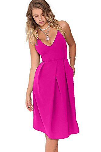 Eliacher Women's Deep V Neck Adjustable Spaghetti Straps Summer Dress Sleeveless Sexy Backless Party Dresses with Pocket (S, Rose red)