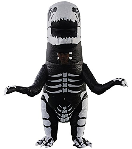 Kids Giant Skeleton T-Rex Dinosaur Inflatable Costume Diplodocus Costumes Cosplay Blow Up Suit Fancy Dress for Child (Kids Skeleton T-rex) -