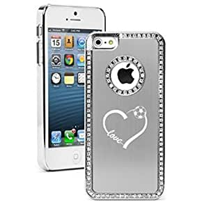 Apple iPhone 5 5s Rhinestone Crystal Bling Hard Case Cover Love Heart Soccer (Silver)