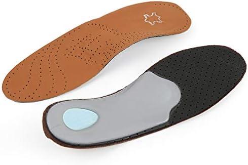 1 Paar Leder Einlegesohlen Fußgewölbe Schuheinlagen Atmungsaktiv Plantarfasziitis Fußeinlagen Orthesen Einlagen Größe 35-36 (Braun)