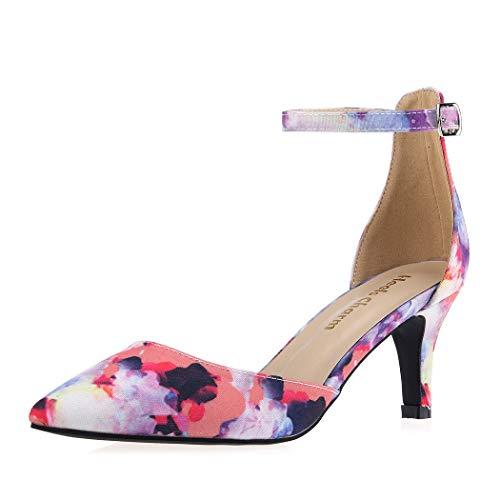 (Women's Heel Pumps Flower Size 8 Strappy Stilettos Pointed Toe High Heel Dress Shoes)