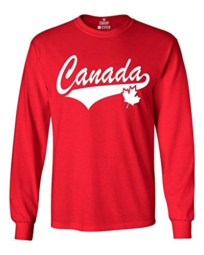 Shop4Ever Canada White With Leaf Long Sleeve Shirt Canadian Flag Shirts X-Large Red 0 - Canada Apparel