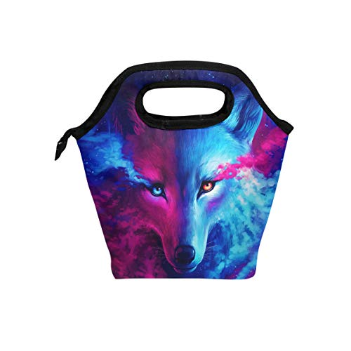 Naanle Animal Wolf Insulated Zipper Lunch Bag Cooler Tote Bag for Adult Teens Kids Girls Boys Men Women, Galaxy Wolf Lunch Boxes Lunchboxes Meal Prep Handbag for Outdoors School Office