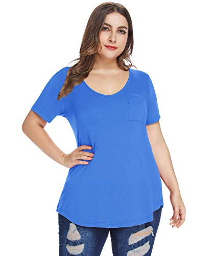 (MONNURO Womens Plus Size Shirts Casual V Neck Short Sleeve Tunic Tops with Pocket(Blue,4X))