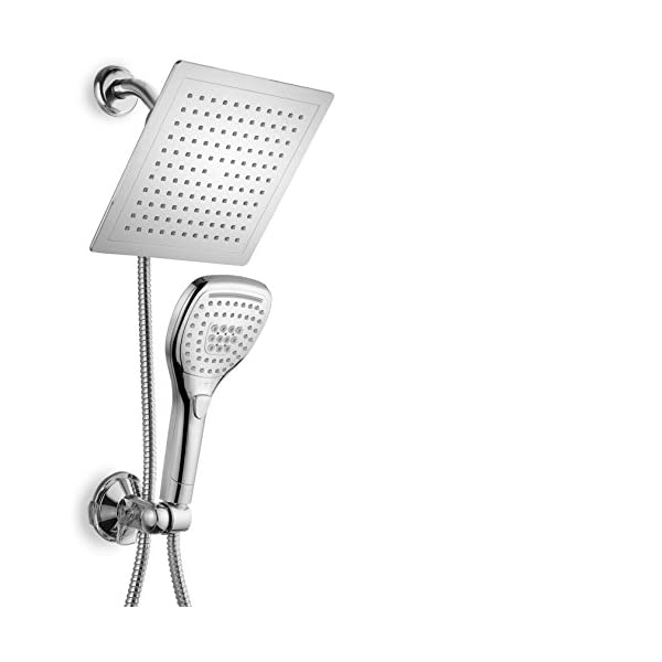 DreamSpa-Ultra-Luxury-9-Rainfall-Shower-HeadHandheld-Combo-Convenient-Push-Button-Flow-Control-Button-for-easy-one-handed-operation-Switch-flow-settings-with-the-same-hand-Premium-Chrome