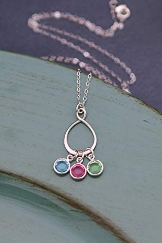 Eternity Birthstone Necklace - ROI - Sterling Silver Swarovski Charm Personalized Mom Gift - Family Circle Teardrop Jewelry - Fast 1 Day Production
