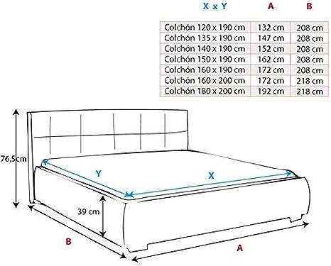 muebles bonitos Cama canapé abatible de Matrimonio Moderna Parisina con somier de láminas para colchón de 160x200cm Blanco Negro diseño Italiano con ...