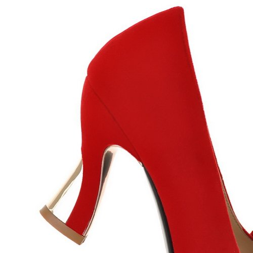 VogueZone009 Womens Closed Pointed Toe High Heel Suede Frosted PU Solid Pumps with Glass Diamond Red mXObh1