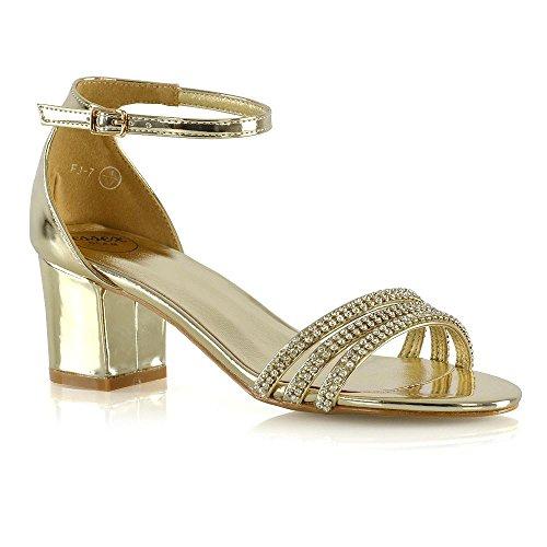 ESSEX Le Sandali Caviglia Donna Tacco GLAM Scarpe Basso Diamante Signore Alla Oro Metallizzato Cinturino ZqwZHr