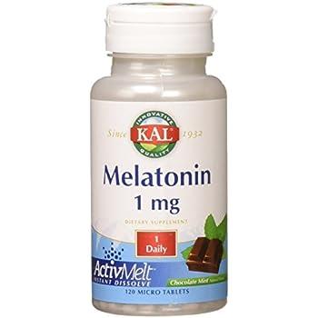 KAL Melatonin Activmelt, Chocolate Mint, White, 120 Count