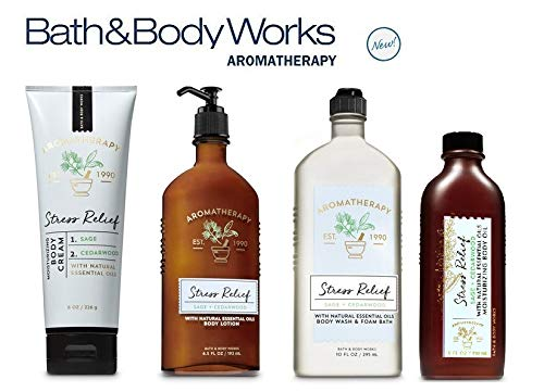 Bath and Body Works NEW Aromatherapy Stress Relief DELUXE SPA GIFT SET - SAGE CEDARWOOD - Body Lotion ~ Body Cream - Body Wash & Foam Bath and Moisturizing Body Oil - Full Size