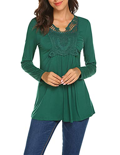 Trim Crochet Tunic (Feager Women's Lace Patchwork Crochet Ruched Front Blouse Peasant Tunic Tops Green XL)