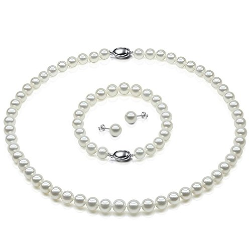 JYX AAA Natural White Freshwater Cultured Pearl Necklace Bracelet and Earrings (White Cultured Pearl Set)