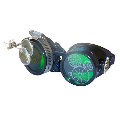 UMBRELLALABORATORY Steampunk Victorian Style Goggles with Gear Design and Green-Tinted Lens Mad Scientist Costume Accessory -