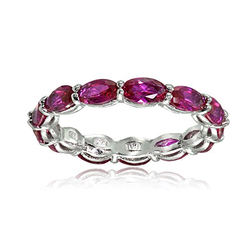 Ice Gems Sterling Silver Created Ruby 5x3mm Oval-Cut Eternity Band Ring, Size 7
