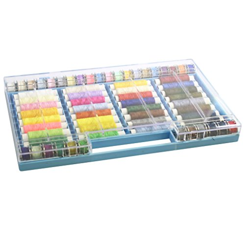 64 Piece Polyester Sewing Thread Set by Curtzy - All Purpose Embroidery Threads on Spools & Bobbins in a Plastic Case - Ideal for Machine Sewing or Hand Needle Work (Kids Snippet Halloween)