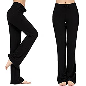 Women's Long Modal Comfy Drawstring Trousers Loose Straight-Leg for Yoga Running Sporting