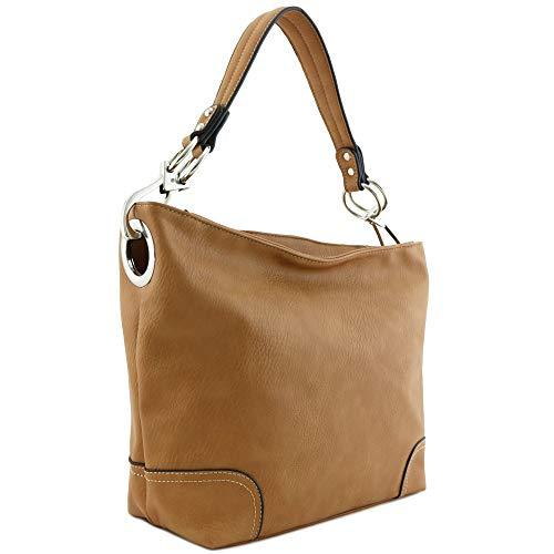Hobo Shoulder Bag with Big Snap Hook Hardware (Dusty Tan)