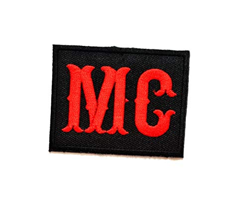 Nipitshop Patches Black Red MG Funny Words Patch Funny Joyful Words Motorcycle MC Club Biker Patch Embroidered Iron On Patch for Clothes Backpacks T-Shirt Jeans Skirt Vests Scarf Hat Bag