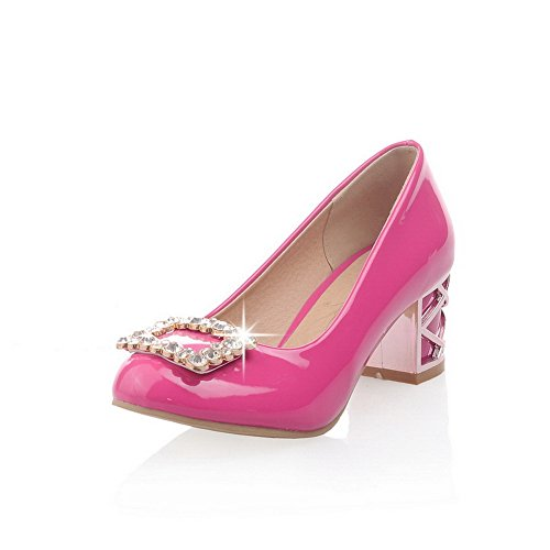 BalaMasa Womens Solid Slip-On Kitten-Heels Studded Rubber Pumps-Shoes RoseRed