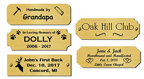 1 H x 3 W, Solid Brass Name Plate, Satin Finish Personalized Custom Laser Engraved Nameplate Label Art Tag for Frames Notched Square or Round Corners, Made in USA