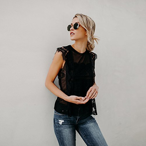 Tops in Women Clothing BXzhiri Women Lace Sleeveless Perspective Sweatshirt Pullover Blouse Shirt Tee Black by Bxzhiri_Women Tops (Image #3)
