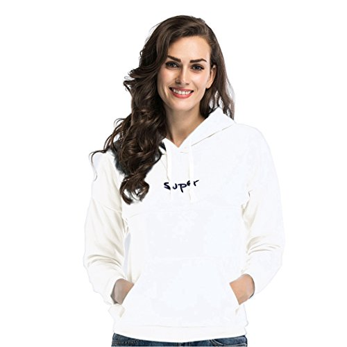 [Fumx Women's Print Long Sleeve Hoodie Jackets Pullover Fleece Top Blouse Hooded Sweatshirts White1 3XL] (Women's Sulley Hoodie)