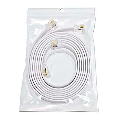 "(2 Pack) 3 Foot White Short Telephone Cable Rj11 Male to Male 36"", Phone Line Cord"