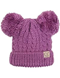 CC Children Kids Girl Boy Ages 2-7 Knitted Chunky Thick Stretchy Solid Color Pom