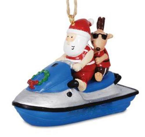 Cape Shore Jolly Santa On Jet Ski with Reindeer Hanging Ornament
