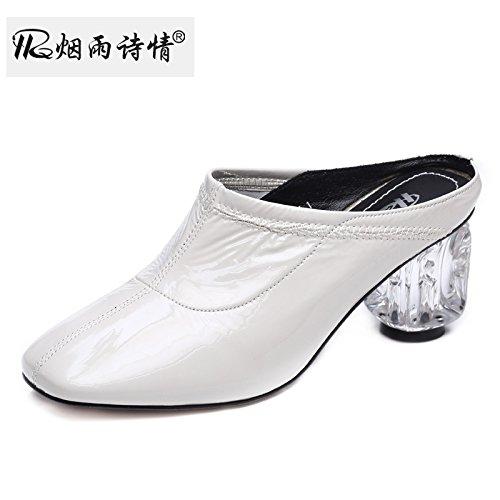 Summer Chaussures Cool Femme Pantoufles Des Cm white De SFSYDDY Chaussures Laque Baotou Talons Super Hauts Grossier 6 De wYnxpqfB