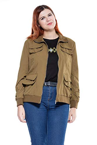 (The Plus Project Ladies Womens Lightweight Utility Casual Bomber Jacket with Belt Olive Green)