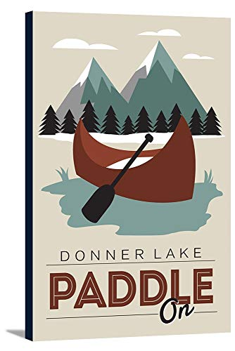 Donner Lake, California - Paddle On - Maroon Canoe - Vector 98409 (12x18 Gallery Wrapped Stretched -